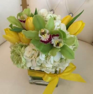 floral bouquet with yellow tulips