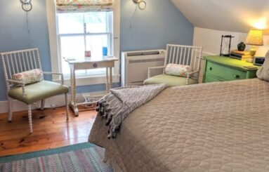 blue bedroom with 2 chairs, bed with brown bedspread