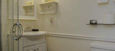 white bathroom with white fixtures