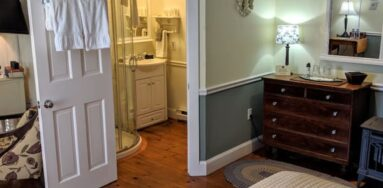 green room with bathroom in rear