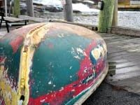 bottom of brightly painted boat