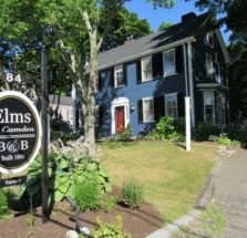 Elms of Camden B&B sign in front of B&B