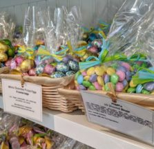 Easter candy in baskets