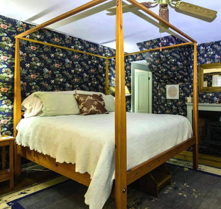 bedroom with dark blue floral wallpaper, 4-poster bed