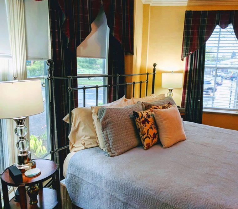 iron bed set in windows