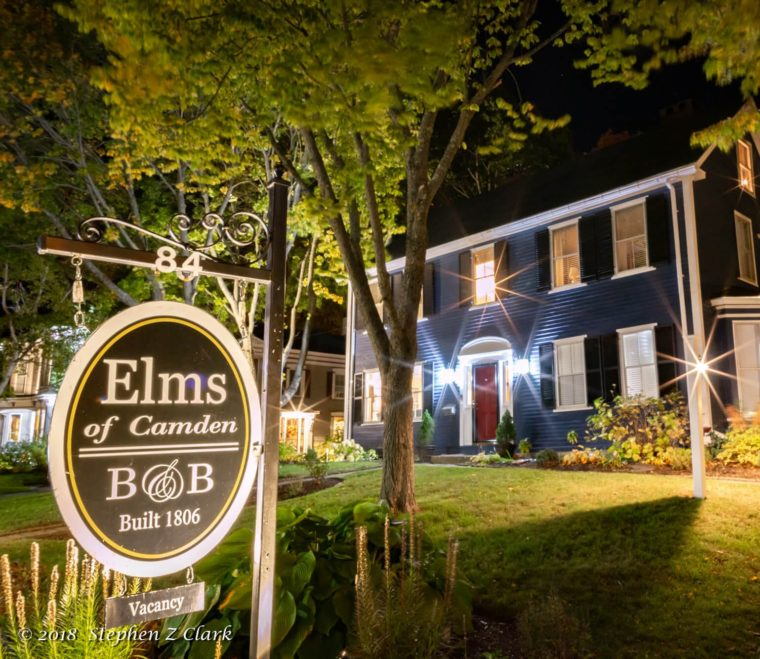 Elms of Candon B&B at night with lights shining